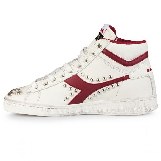diadora game hi red swoosh studs