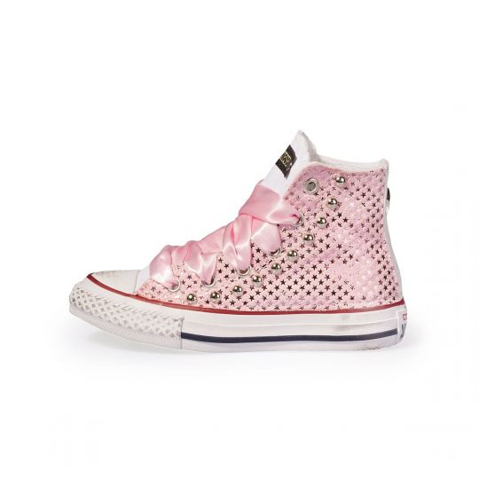 All star hi White Stars Satin Rose Kid