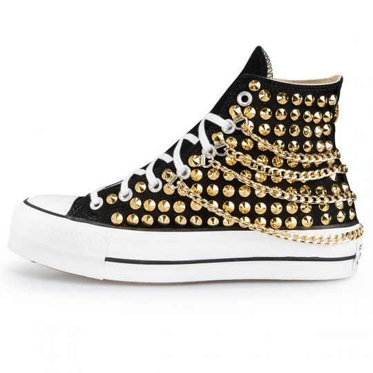 Platform Hi Black Chainy Clean Gold