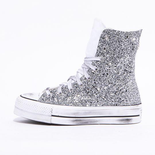 platform hyper white glitter