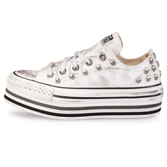 PLATFORM LINES DIRTY SKULL WHITE low