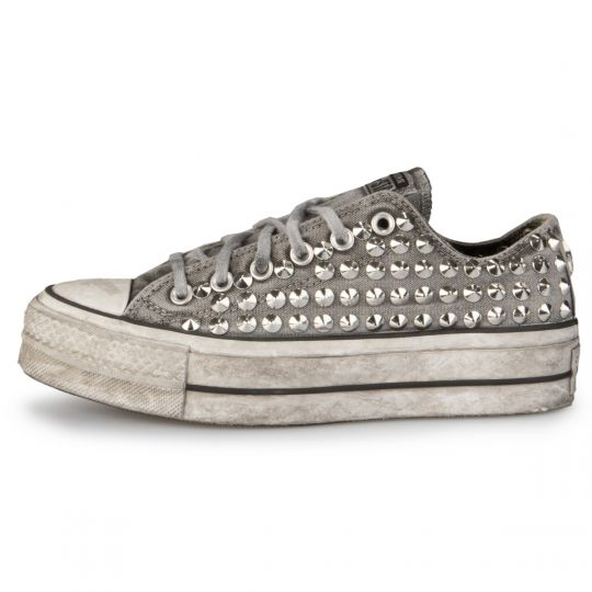 Platform low Grey Full Studs Washed