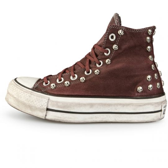 Platform Hi Bordeaux Skull Dirty Washed