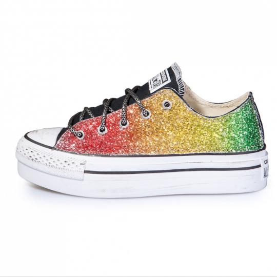 platform low Rainbow Glitter