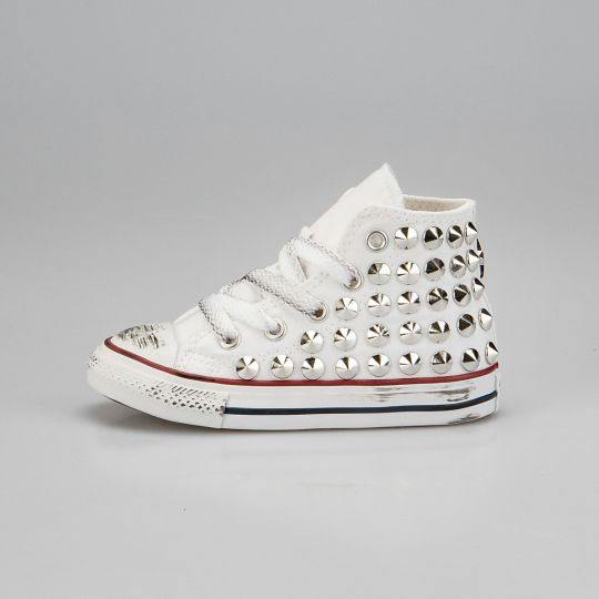 all star hi WHITE FULL STUDS KID