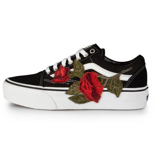 Vans Old Skool Platform Black  Roses