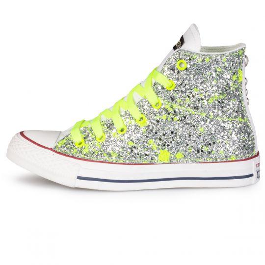 all star hi yellow neon glitter drip