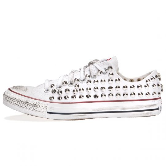 all star WHITE LOW cone skull