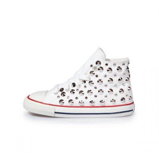 All star hi WHITE STUDS SWAROVSKI Kid