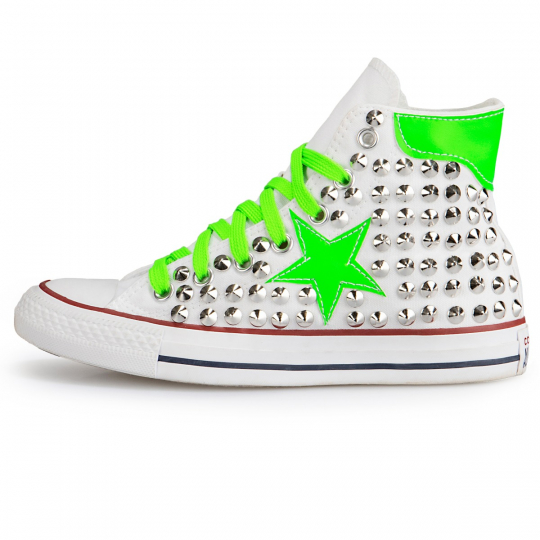 All Star Hi White De-la stars Green Fluo