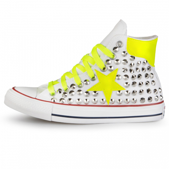 All Star Hi White De-la stars YELLOW Fluo