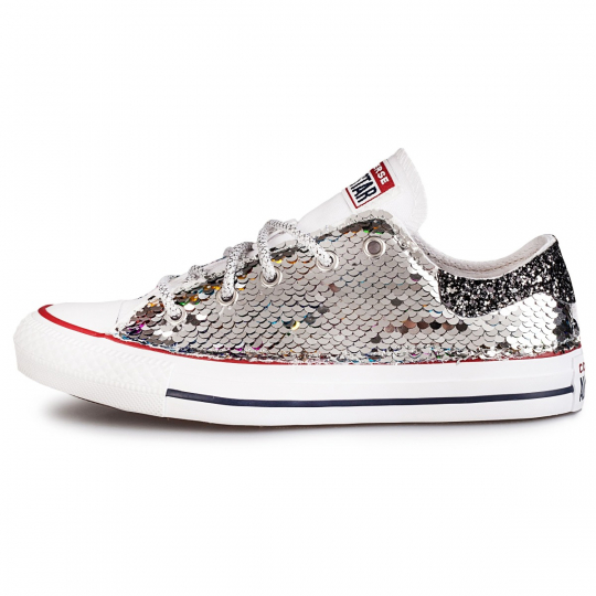 all star low white de-la paillettes