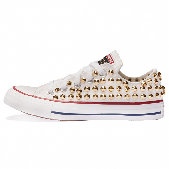 all star WHITE / GOLD LOW cone skull