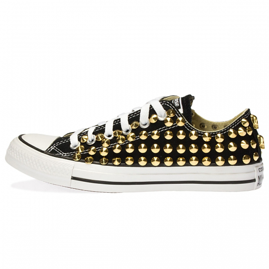all star BLACK / GOLD LOW cone skull