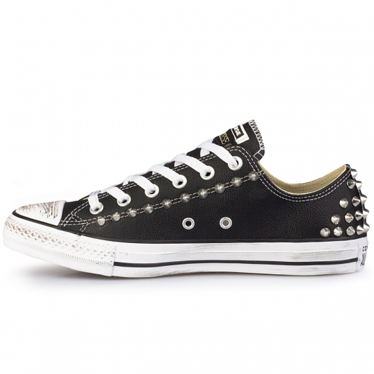 all star black low pelle /leather
