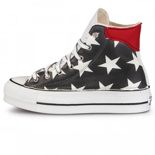 Converse Platform White De-la Black Stars