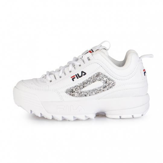 fila disruptor white glitter kid