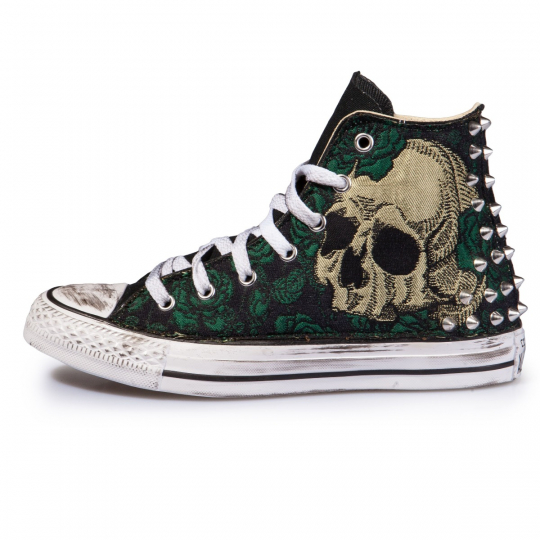 Skull Flower Broccato Dark Hi